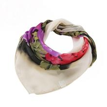 Women Printing Square Scarf Head Wrap Kerchief Neck Shawl Spring flowers big peony chiffon career scarf handkerchief warm(China)