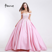 Finove Flowers Appliques Prom Dresses New Arrival 2017 Autumn Elegant ball Gowns Floor-Length Sexy Off Shoulder Long Dresses(China)