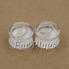 2pcs white glitters ear plug gauges transparent acrylic flesh tunnel plugs body piercing jewelry PLP0015