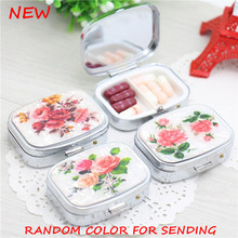 New small metal Pill case for Drugs travel Portable Floral square splitters Medicine box(China)