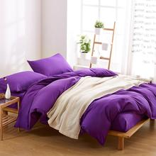 11 Solid Color 4pcs Bedding Set Bedclothes with Duvet Cover Bed Sheet Bedspread Purple Kids Set of Bed Linen Bedsheet Sheets(China)