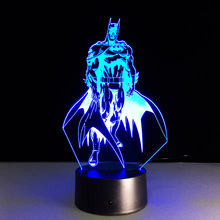 Novelty Marvel Superhero Batman 3D Illusion Night Light Visual LED Table Lamp Bedroom Decor Lighting Birthday Gift(China)