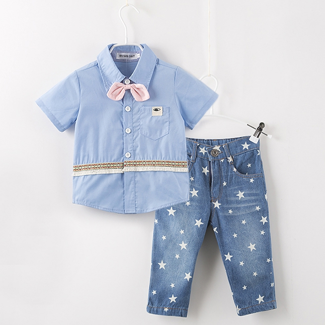 Kids clothes short sleeve  blue bow tie shirt+star jeans infant boys casual clothing pants baby kids suits 2 pcs outfits<br><br>Aliexpress