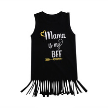 2017 Summer Toddler Kids Girls Sleeveless Tassel Dress Mama is my BFF Letter Print Casual Children Clothes Sundress 1-6 Years(China)