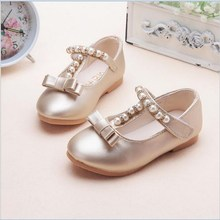 Kids Girls Gold/Silver Pearl Bowtie Sandals,Child Beading T-Strap Flat Shoes,Princess Cute Party Flats,Hook&Loop Casual Shoe