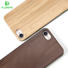 FLOVEME For iPhone 5 5S 6 6S 7 Retro Real Wooden Phone Case Capa For Apple iPhone 7 6 6S Plus X 10 SE Bamboo Cover Bags Coque(China)