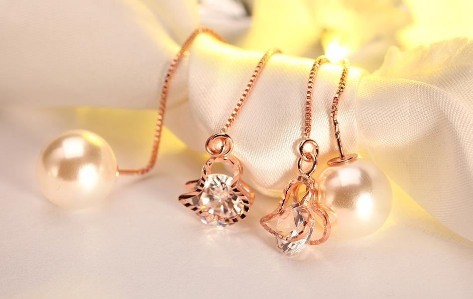Effie Queen Fashion Cute Ear Wire Earrings Female Models Long Drop Crystal Imitation Pearl Jewelry Dangle Earrings Brincos DDE26 17