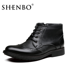 SHENBO Brand Men England Style Casual Boots, High Quality Men Boots, Fashion Brogue Men Ankle Boots