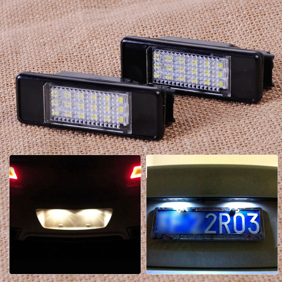 2pcs License Plate Light Lamp 18 LED 6340 G9, 6340 A5, 6340 G3, 6340 F0 for Peugeot 207 308 406 407 Citroen C2 C3 C4 2/3/5-door<br><br>Aliexpress