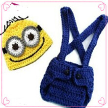 Despicable Me Pattern Crochet Baby Hat Knitted Diaper covered trousers for 0 - 6 Months Newborn Photography Props