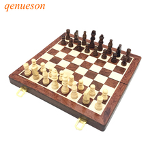 New Hot Folding Chess Wooden Chess Game Children Gifts Crafts multifunctional Chess Set Pieces Interesting Backgammon Board Game(China)
