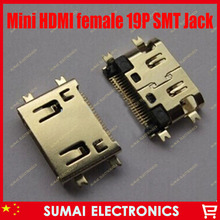 50pcs mini HDMI 19pin female plug socket jack connector,4 foot SMT and sink board for HD TV Interface ETC free shipping