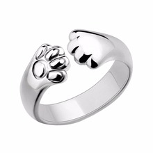 Women Lady Silver Plated Cat Paw Claw Rings Fashion Design Open Party Ring Adjustable For Young Girls Jewelry Christmas Gift