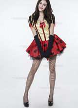 Queen Of Hearts Fancy Carnival Dress Poker Queen Sexy Halloween Costume Set Dress+ Crown+gloves+cloak For Ladies Cosplay Clothes