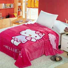 Hello Kitty Polka dot Print Blankets Throws Bedding 150*200CM Size Baby Kid Girls Children's Bed Home Bedroom Decoration Flannel