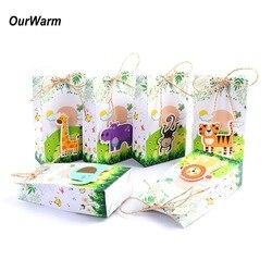 OurWarm 12 шт. Подарочная коробка сафари животные Подарочная коробка бумажные пакеты для украшения вечеринки на день рождения вечерние принадл...