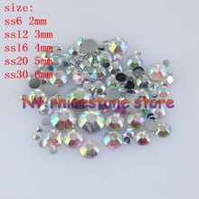 "DIY,100-1000pcs/bag,SS6/12/16/20/30,3D Nail Art ,Clear ab resin flat back crystal rhinestone ""not hotfix"" nails for phone case"