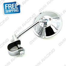 "Chrome Vintage Cafe Racer 4"" Clamp-On Tinted Mirror Rearview Mirrors Moped Motorcycle Backup Mirror Made in TAIWAN Free Shipping"