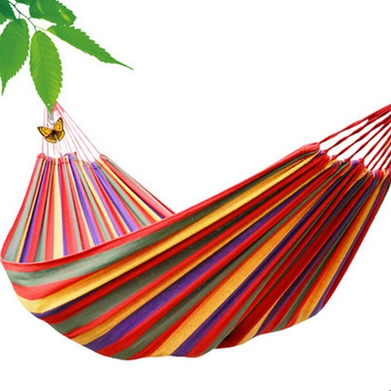 Buddery 2017 HOT Portable Outdoor Garden Hammock Hang BED Travel Camping Swing Canvas Stripe NVIE<br><br>Aliexpress