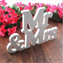 1 Set MR & MRS WEDDING LETTERS White Wooden MR AND MRS Letters Sign Gift Decoration IC602373(China)