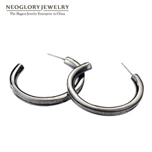 Neoglory Antique Gunmetal Plated Hoop Earrings For Women Wholesale Large Circle Round Vintage Jewelry Metallic Glitter FA(China)