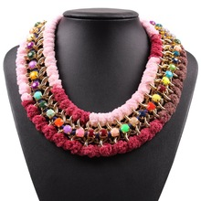 Fashion Colorful Resin Gold Chain Cheap String Statement Collar Choker Necklace For Ladies 2017 New Latest Model Jewelry(China)