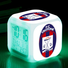 Plastic Color Flash Digital Clock Lamps F.C. Crotone LED Alarm Clock reloj despertador infantil thermometer Watch Kid Toy Gifts(China)