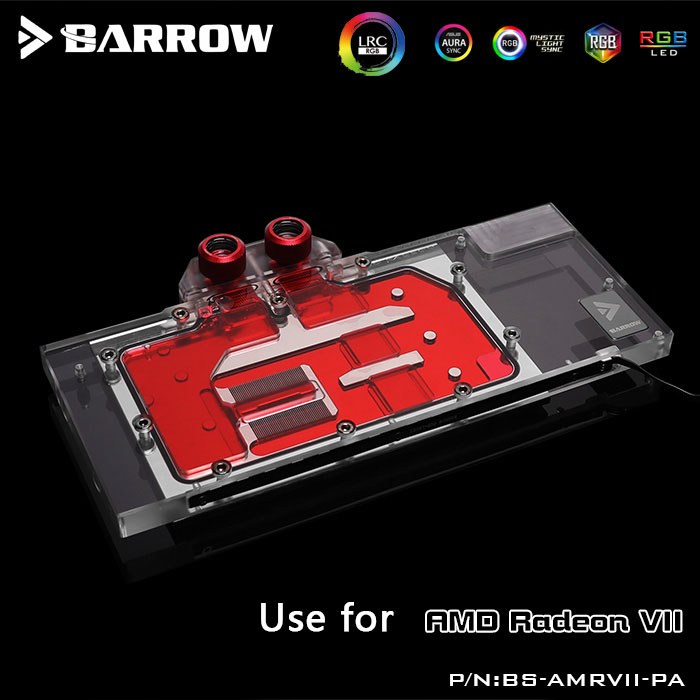 BARROW Water Block use for AMD Radeon VII Founder Edition /Full Cover GPU Block / Support Original Backplate 5V 3PIN Header RGB