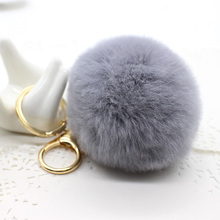 2017 new leather High Quality Real Rabbit Fur pompom Ball Keychain Bag Pendant Car Ring porte clef Handmade Pom pom key chain