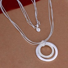 Wholesale silver plated Necklaces & Pendants,925 Jewelry silver,Dual Circle Necklace SMTN056