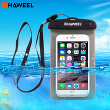 Haweel Universal Waterproof Case Transparent Dustproof Dry Cellphone Bag with Neck Strap for iPhone 7 6S Plus and smart phones(China)