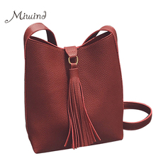 Women New Bags Handbag Tote Crossbody Over Shoulder Sling Messenge Leather Bucket Fringe Tassel Casual Small Female Bolsas Black