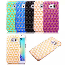 Sanniu Luxury Lozenge Pattern Bling PU Skin Rugged Plastic Mobile Phone Back Cover Case For Samsung S6 EDGE Case For Samsung