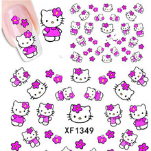 1 Sheets Hello Kitty Nail Stickers 3D Water Transfer Nail Art Sticker Decal Cartoon Cat Sticker Design Foil Adhesive Nail Foil