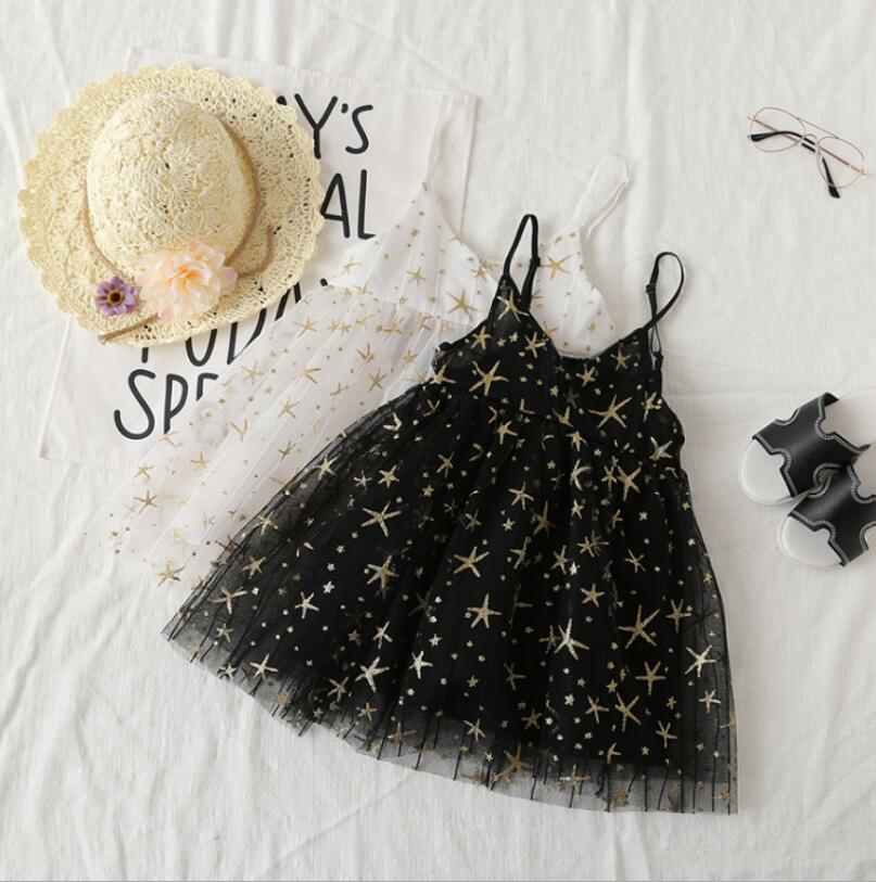 2019 Summer  Sparkle Star Sling Dresses For Kids Baby, Princess Cute Mesh Black White  5 pcs/lot,Wholesale