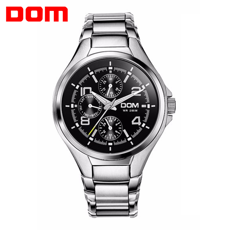 Hot Sale Mens Watch Brand DOM Sport Diving Waterproof Wristwatch Casual Stainless Steel Strap Watch Men Montre Homme Relogio <br>