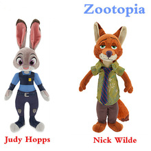 2016 New 1PCS 23CM PLUSH Zootopia Rabbit JUDY Hopps FOX NICK WILDE TOYS FOR BABY KIDS DOLLS