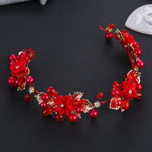 Bohemia style red Bridal Headband wedding pearl flower bride tiaras Hairband goddess hair bands headdress