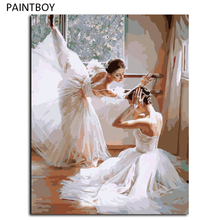 PAINTBOY Oil Painting Framed Picture Painting By Numbers Ballet Girl DIY Digital Canvas Oil Painting Home Decor G399(China)