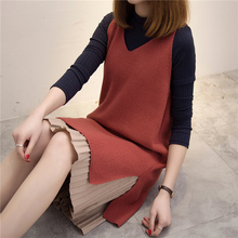 2017 new spring ladies sweater dress shirt collar female half color loose knit dress set