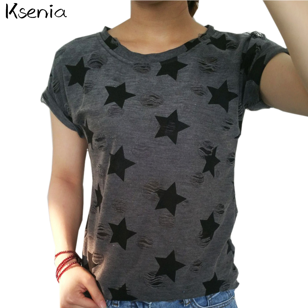 Ksenia 2017 T-shirt women Cotton Broadcloth Hole Print Star O-Neck Fashion Tops Ladies short vintage casual t shirt(China (Mainland))