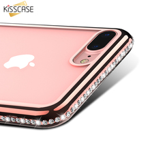 KISSCASE Luxury Plated Diamond Phone Case For iPhone 5S SE 6 6S 7 7 Plus Cases Clear Transparent TPU Cover For iPhone 5 5S 6S 7