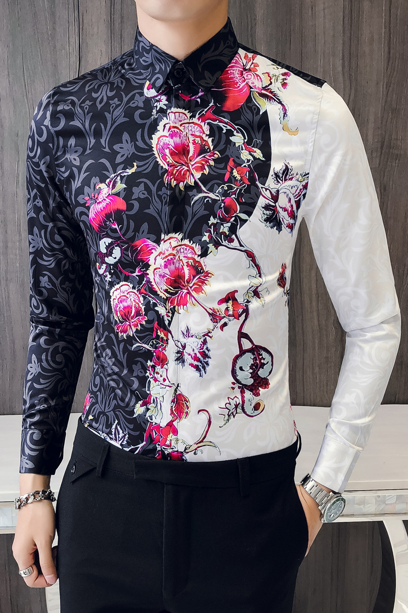 Luxury Men's Autumn New Floral Print Long Sleeve Shirt Fashion Lapel Slim Shirt Camisa Masculina Men Shirt 2019 Patchwork Tops