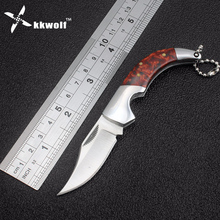 KKWOLF Mini Tactical folding knives Survival Hunting Knives Camping Pocket Fruit Knife Steel+Acrylic Handle Keychain Knife(China)