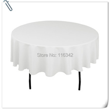 "Big Discount & Factory Price!!  132"" Round Polyester 10pcs White Table Cloth For Party &Hotel &Resturant  FREE SHIPPING"