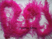 1pc/lot! 2meters long, Luxury 1 ply Rose Ostrich Feather Boa for decor,high quality Ostrich Boa(China)