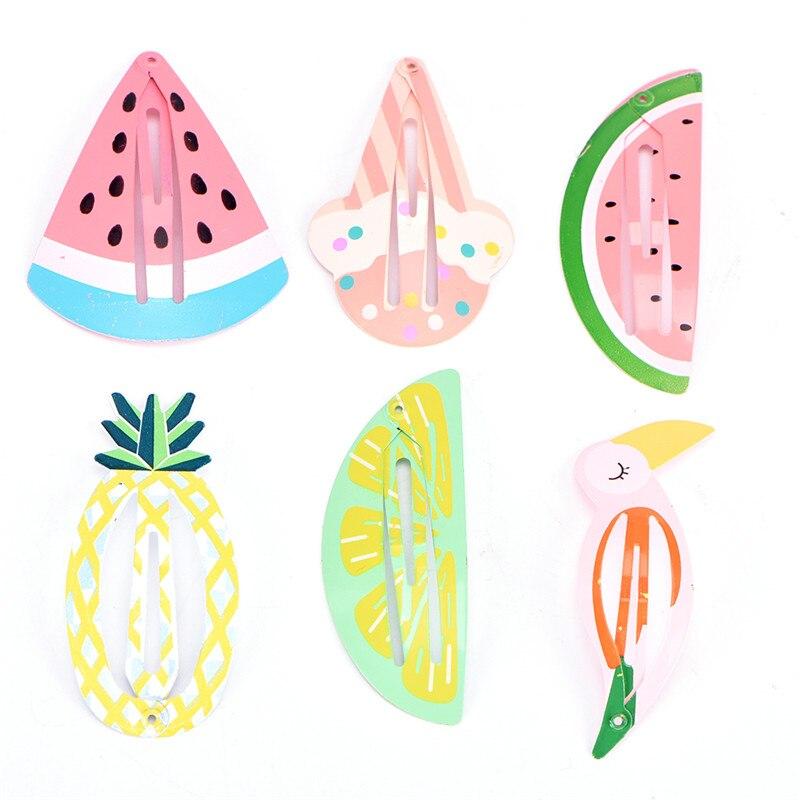 1pcs Watermelon Fruit Design Fashion Bobby Pins Cartoon Flamingo Pineapple Hairpin Hair Clip For Girl Headdress Accessories