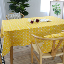 Modern Yellow Tea Table Cloth Geometric Plaid Cotton Linen Tablecloths Rectangle Wedding Dinner Party Decoration High Quality