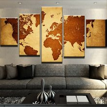 Canvas Painting 5 Panels Old World Map Character Picture Painting On Canvas Wall Art Picture Home Decor OCT019(China)