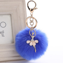 H:HYDE New 17 Colors Fake Rabbit Fur Ball Key Chain Dancing Angel Girl Key Rings For Women Bag Pendant Accessories porte clef(China)